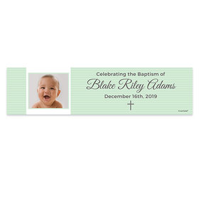 Personalized Baptism Photo and Cross 5 Ft. Banner