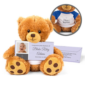 Personalized Photo & Cross Teddy Bear with Belgian Chocolate Bar in Deluxe Gift Box