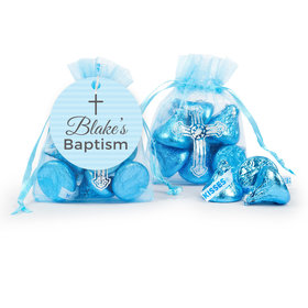 Personalized Cross Blue Baptism Hershey's Kisses in Organza Bags with Gift Tag