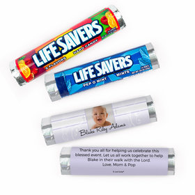 Personalized Baby Cross and Scroll Baptism Lifesavers Rolls (20 Rolls)
