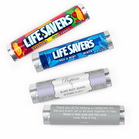 Personalized Framed Cross Baptism Lifesavers Rolls (20 Rolls)