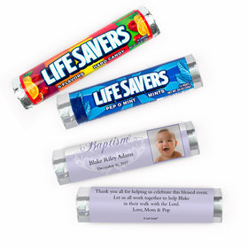 Personalized Photo and Scroll Baptism Lifesavers Rolls (20 Rolls)