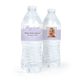 Personalized Boy Baptism Photo and Scroll Water Bottle Labels (5 Labels)