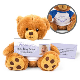 Personalized Photo & Scroll Teddy Bear with Belgian Chocolate Bar in Deluxe Gift Box