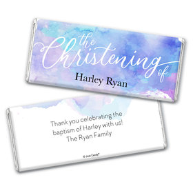 Personalized Watercolor Christening Chocolate Bars