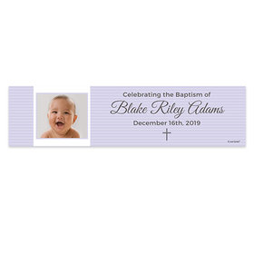 Personalized Girl Baptism Cross & Photo Banner