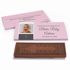 Deluxe Personalized Photo & Cross Baptism Embossed Chocolate Bar in Gift Box