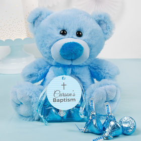 Personalized Boy Baptism Small Prayers Blue Teddy Bear and Organza Bag with Hershey's Kisses