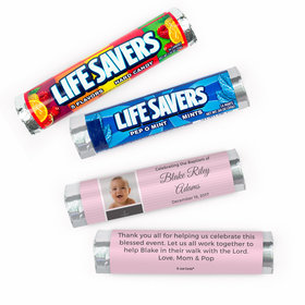 Personalized Baby Photo and Cross Baptism Lifesavers Rolls (20 Rolls)