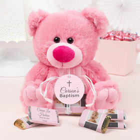 Personalized Girl Baptism Small Prayers Pink Teddy Bear and Organza Bag with Hershey's Miniatures