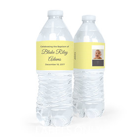 Personalized Girl Baptism Photo and Cross Water Bottle Labels (5 Labels)