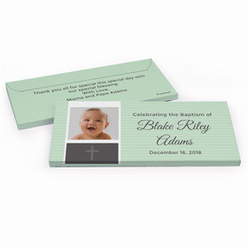 Deluxe Personalized Photo & Cross Baptism Chocolate Bar in Gift Box