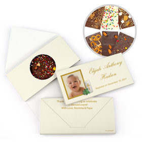 Personalized Candle Light Photo Baptism Gourmet Infused Belgian Chocolate Bars (3.5oz)