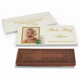 Deluxe Personalized Holy Candle Baptism Embossed Chocolate Bar in Gift Box