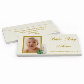 Deluxe Personalized Holy Candle Baptism Chocolate Bar in Gift Box