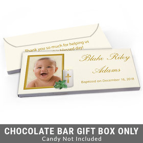Deluxe Personalized Holy Candle Baptism Candy Bar Favor Box