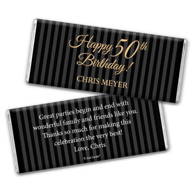 50th Birthday Personalized Chocolate Bar Elegant Formal Pinstripes