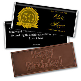 Seal of Experience Embossed Happy 50th Birthday Bar Personalized Embossed Chocolate Bar Assembled