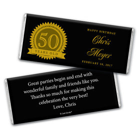 Birthday 50th Birthday Personalized Chocolate Bar Age Seal
