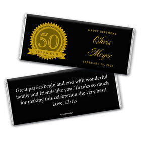 Seal of Experience 50th Birthday Personalized Candy Bar - Wrapper Only