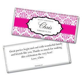 Birthday Personalized Chocolate Bar Baroque Pattern