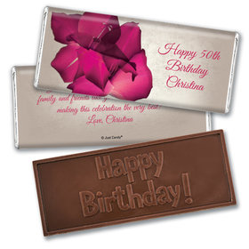 Birthday Personalized Embossed Chocolate Bar Large Flower