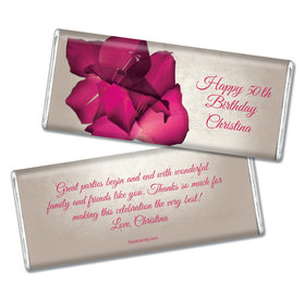 Birthday Personalized Chocolate Bar Large Flower