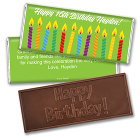 Birthday Personalized Embossed Chocolate Bar Lit Candles