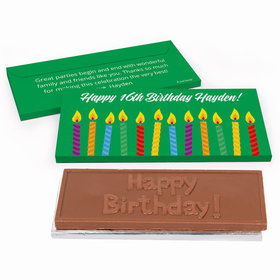 Deluxe Personalized Lit Candles Adult Birthday Chocolate Bar in Gift Box