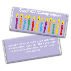 Birthday Personalized Chocolate Bar Lit Candles