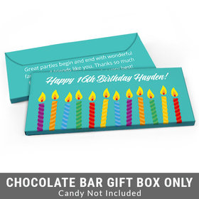 Deluxe Personalized Lit Candles Adult Birthday Candy Bar Favor Box
