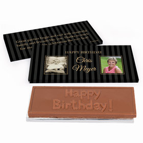 Deluxe Personalized Pinstripe Birthday Chocolate Bar in Gift Box