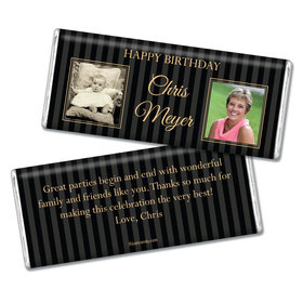 Birthday Personalized Chocolate Bar Pinstripe Then and Now Photos