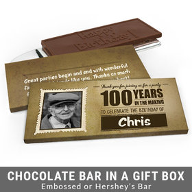 Deluxe Personalized 100th Birthday Chocolate Bar in Gift Box