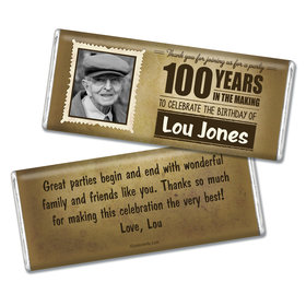 100th Birthday Personalized Chocolate Bar Years in the Making Photo