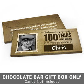 Deluxe Personalized 100th Birthday Candy Bar Favor Box