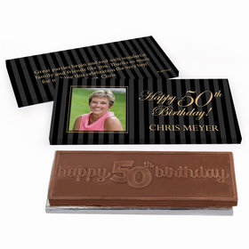 Deluxe Personalized Formal Pinstripes Birthday Chocolate Bar in Gift Box
