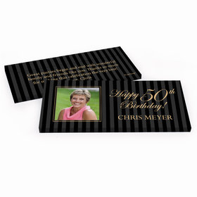 Deluxe Personalized Formal Pinstripes Birthday Hershey's Chocolate Bar in Gift Box