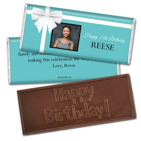 Birthday Personalized Embossed Chocolate Bar Tiffany Style Bow Photo