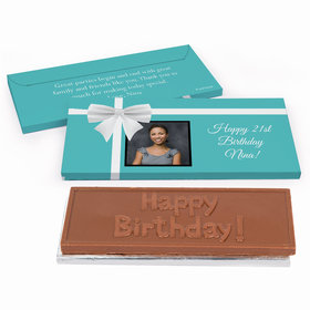 Deluxe Personalized Photo & Bow Birthday Chocolate Bar in Gift Box