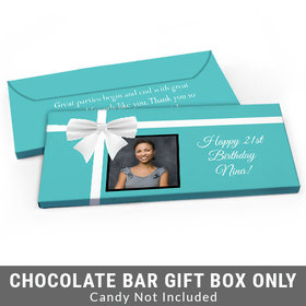 Deluxe Personalized Photo & Bow Birthday Candy Bar Favor Box