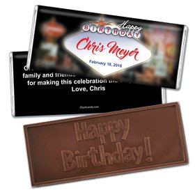 Birthday Personalized Embossed Chocolate Bar Casino Lights