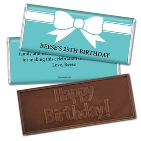Birthday Personalized Embossed Chocolate Bar Tiffany Style Bow