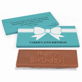 Deluxe Personalized Bow Birthday Chocolate Bar in Gift Box