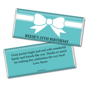 Birthday Personalized Chocolate Bar Tiffany Style Bow