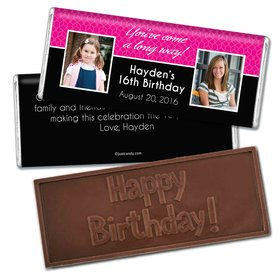 Birthday Personalized Embossed Chocolate Bar Then & Now Photo