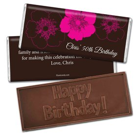 Birthday Personalized Embossed Chocolate Bar Flower Trio