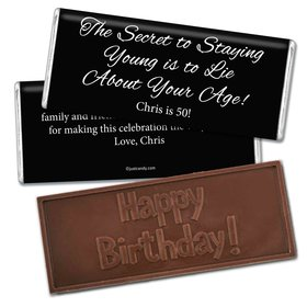 Birthday Personalized Embossed Chocolate Bar Secret to Staying Young
