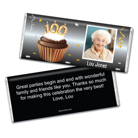 100th Birthday Personalized Chocolate Bar Cupcake & Year Photo