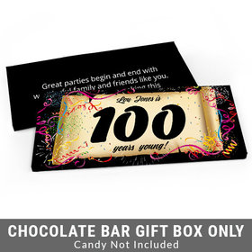 Deluxe Personalized 100th Confetti Birthday Birthday Candy Bar Favor Box